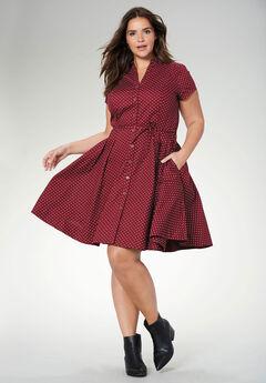 Sandy Shirtwaist Dress by ellos®, RICH BURGUNDY DOT, hi-res