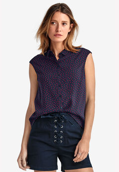 Sleeveless Button Front Blouse by ellos®, NAVY RED DOT