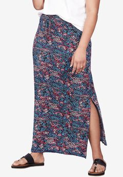 Long Knit Elastic Waist Skirt by ellos®,
