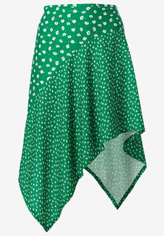 Mixed-Print Asymmetrical Skirt by ellos®, KELLY GREEN WHITE FLORAL