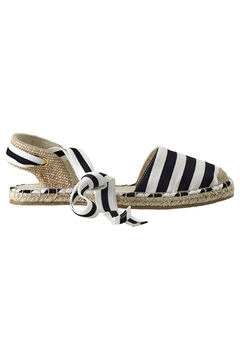 Lace-Up Flat Espadrilles by ellos®, BLACK WHITE STRIPE, hi-res