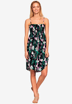 Smocked Bodice Dress by Ellos®, BLACK FLORAL, hi-res