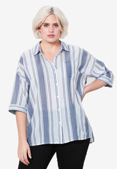 Oversized Button-Front Shirt by ellos®,