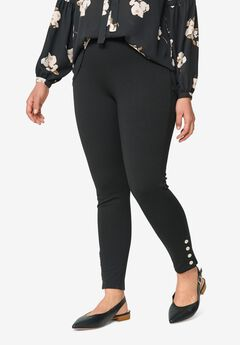 Snap-Hem Ponte Leggings by ellos®,