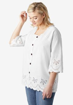 Button-Front Eyelet Tunic by ellos®,