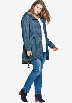 Hooded Anorak Denim Jacket by ellos®,