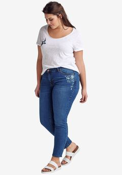 Embroidered Skinny Jeans by ellos®,