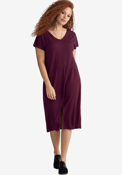 Slit-Front Knit Dress by ellos®, MIDNIGHT BERRY, hi-res