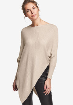 Lightweight Ribbed Poncho Sweater by ellos®, BEIGE HEATHER, hi-res
