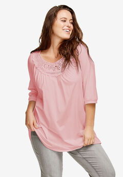 Scoop Neck Crochet Trim Tunic by ellos®, MISTY ROSE, hi-res