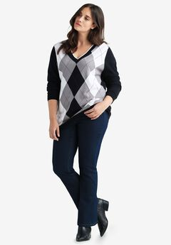 V-neck Argyle Sweater by ellos®,
