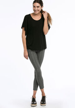 Zip Pocket Twill Jeggings by ellos®, BLACK WHITE PRINT, hi-res