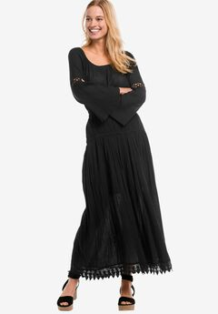 Lace Trim Long Skirt by ellos®, BLACK, hi-res
