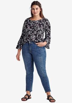 Notch-Hem Skinny Jeans by ellos®, MEDIUM STONEWASH