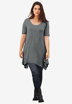 Scoop Neck Hanky Hem Tunic by ellos®, SLATE, hi-res