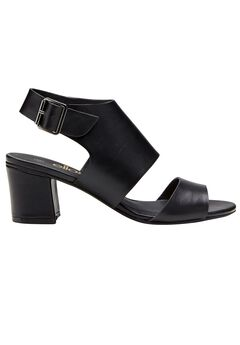 Faux Leather Wide Strap Sandals by ellos®, BLACK, hi-res