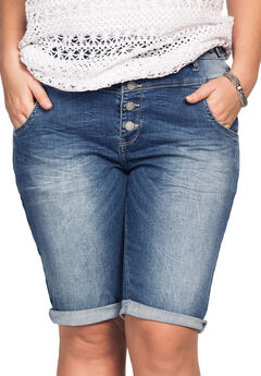 Button-Front Denim Shorts by ellos®,