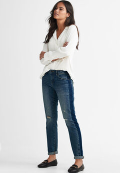 Two-Tone Distressed Straight Jean by ellos®,