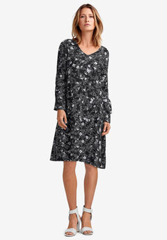 Tie-Sleeve A-Line Dress by ellos®, BLACK WHITE FLORAL