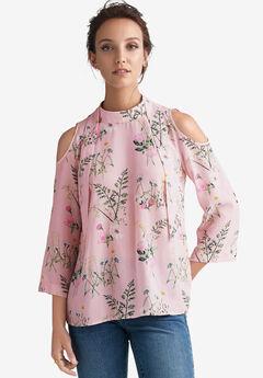 Cutout-Shoulder Tie-Back Blouse by ellos®, MISTY ROSE FLORAL PRINT, hi-res