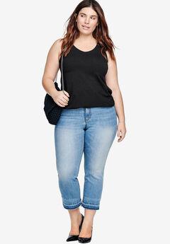 Cropped Frayed Hem Stretch Jeans by ellos®, LIGHT BLUE SANDED, hi-res