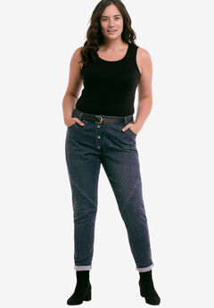 Button Fly Girlfriend Jeans by ellos®, DARK BLUE SANDED, hi-res