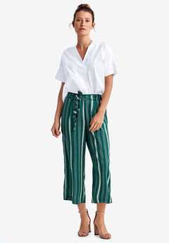 Wide-Leg Cropped Pants by ellos®, EMERALD GREEN STRIPE
