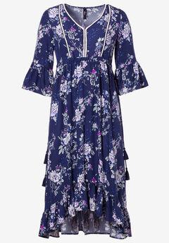 Flora A-Line Maxi Dress by ellos®, NAVY MULTI FLORAL