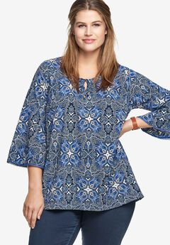 Bell Sleeve A-Line Tunic by ellos®,