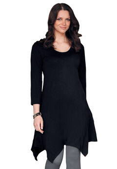 3/4 Sleeve Hanky Hem Tunic by ellos®, BLACK, hi-res