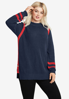 Side Stripe Mockneck Sweater,