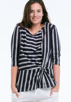 Striped Front Knot Tee by ellos®, NAVY/WHITE STRIPE, hi-res