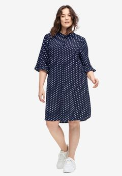 Flounce-Sleeve Shirtdress by ellos®,