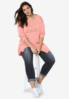 Beaded Applique Hanky Hem Sweater by ellos®,