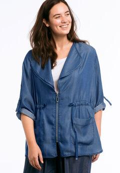 Zip Front Soft Tencel Denim Jacket by ellos®, DARK STONEWASH, hi-res