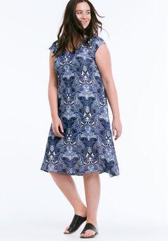Paisley T-Shirt Dress by Ellos®, NAVY PRINT, hi-res