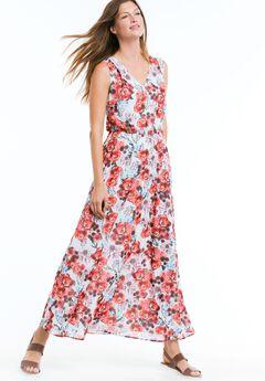 Sleeveless Printed Maxi Dress by ellos®, NECTARINE FLORAL, hi-res
