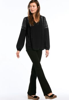 Crochet Lace Trim V-neck Blouse by ellos®, BLACK, hi-res