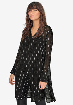 Sheer Lurex Patterned Tunic by ellos®,