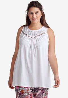 acde03cc848 Sleeveless Lace Tank Top by ellos®