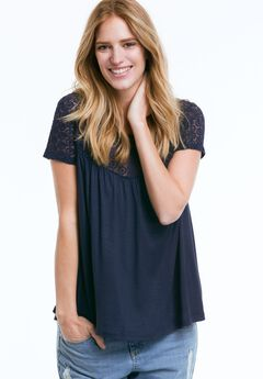 Lace Yoke Tee by ellos®, NAVY