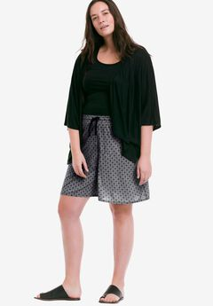 Wide Leg Knit Shorts by ellos®, BLACK WHITE PRINT, hi-res