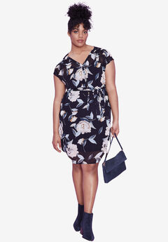 Ava Floral Dress by ellos®, NAVY FLORAL PRINT, hi-res