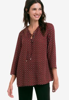 Lace-Up Blouse, BLACK RED OCHRE PRINT, hi-res