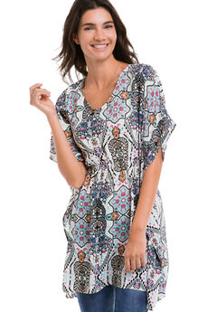 Festival Caftan Tunic by ellos®, MULTI PATCHWORK PRINT, hi-res
