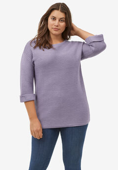 Ribbed Pullover Sweater by ellos®, DARK LAVENDER