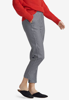 Cropped Straight Leg Pants by ellos®, BLACK WHITE GINGHAM