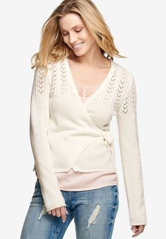 Pointelle Wrap Cardigan by ellos®, IVORY, hi-res