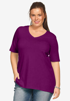 V-neck A-line Tunic by ellos®, BOYSENBERRY, hi-res