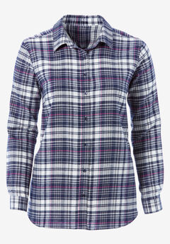 Plaid Flannel Shirt by ellos®, NAVY PLAID